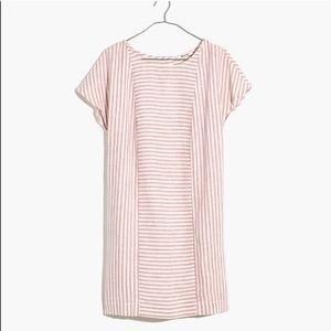 Madewell Stripe Play Button Back Tee Dress
